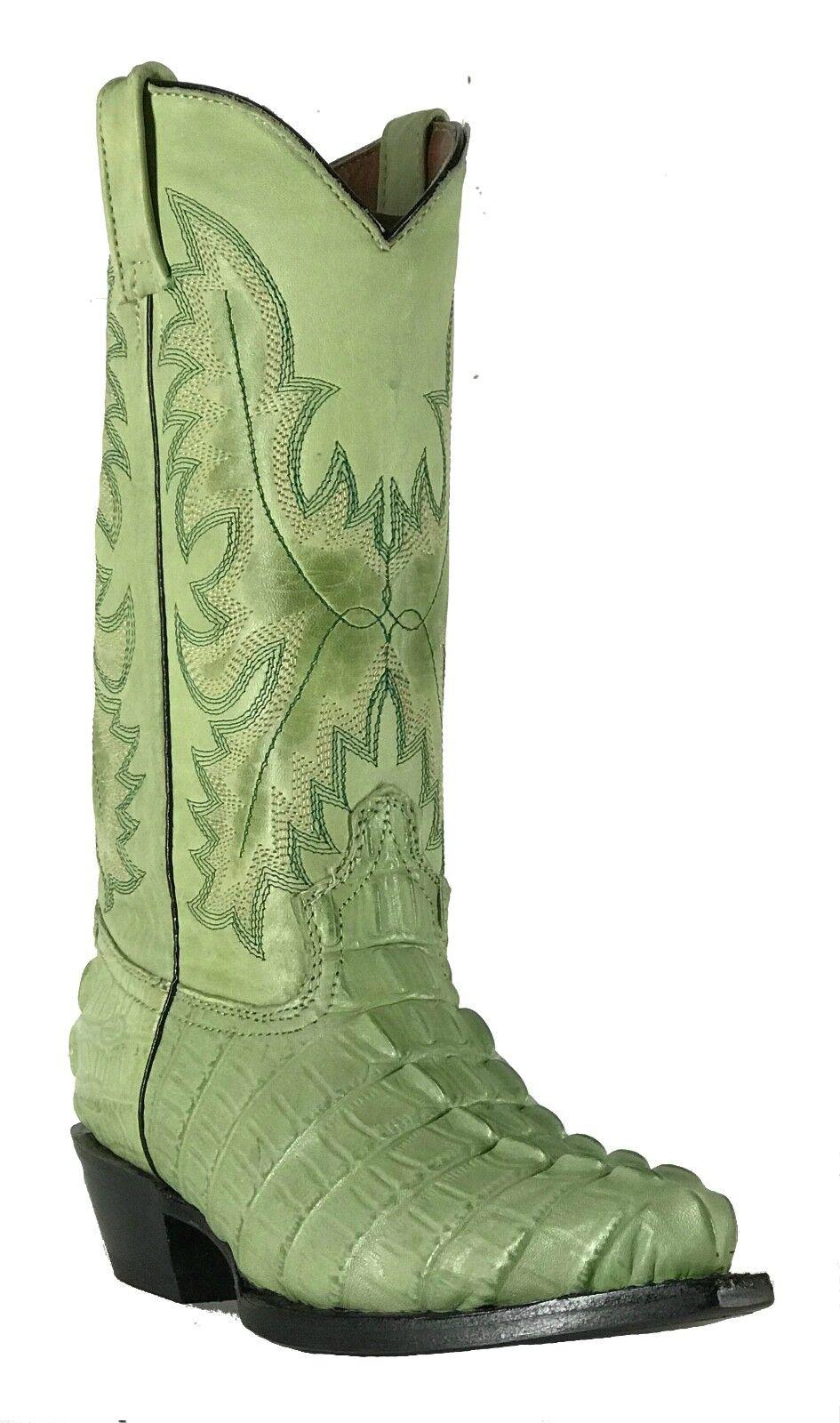 Wouomo New Leather Crocodile Design Western Cowgirl Biker stivali Snip verde