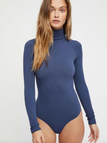 New Free People Womens Ribbed Long Sleeve Seamless Turtleneck Bodysuit Top $48