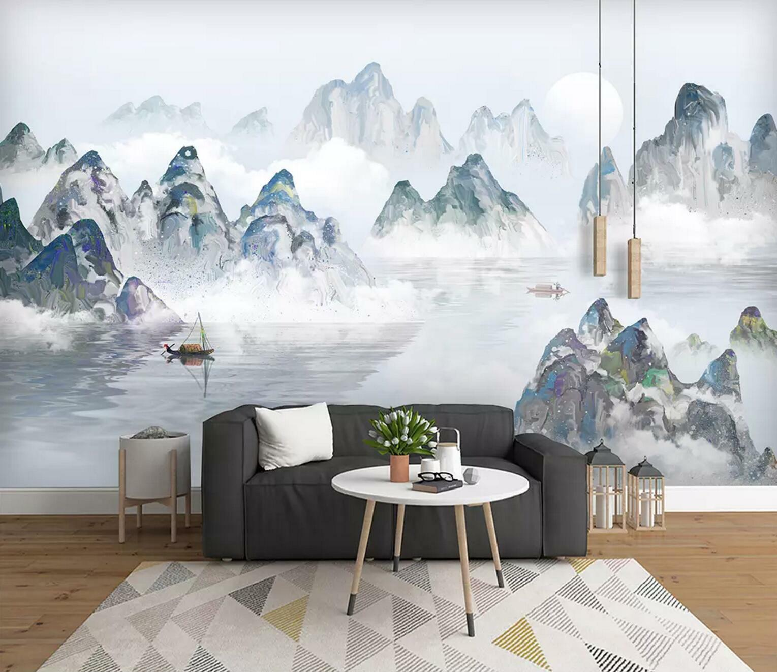 3D Mountain River 31 Wall Paper Exclusive MXY Wallpaper Mural Decal Indoor wall
