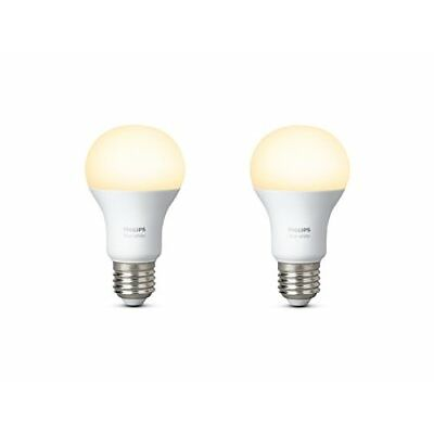 Philips Hue White Personal Wireless Lighting LED E27 Twin Pack Edison Screw, 2 x