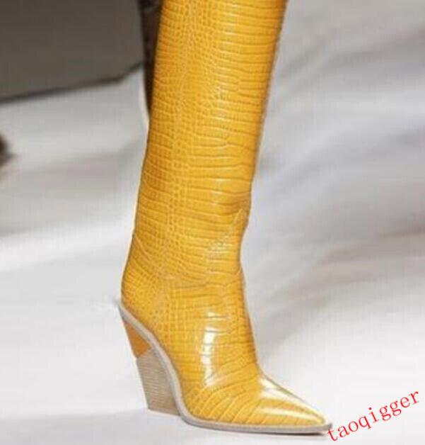 kvinnor läder knä High stövlar mode springaway Pointed toe kile High häl skor
