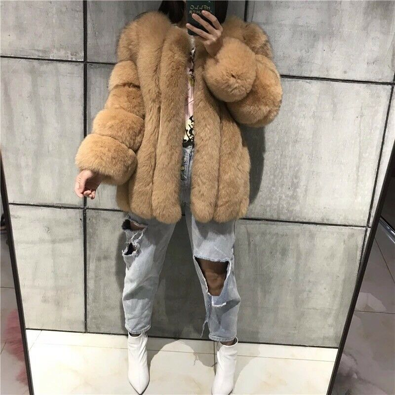 Ladies Beige Real 100% Fox Fur Long length Warm Winter Shaggy Coat S M L