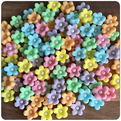 30 Edible Pastel Sugar Flowers Cake Decorations Cupcake Toppers Wedding Birthday