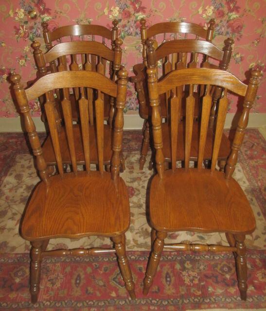 Tell City Tanbark Oak Arrowback Set Of 6 Dining Room Chairs 1404 1405