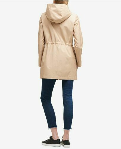 DKNY Hooded Cinched Waist Raincoat Khaki or Navy-Helps Rescued Animals 70/% OFF