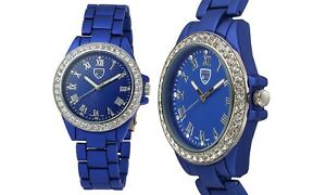 NEW Picard & Cie 9326 Womens Boudica Crystal Accent Roman Numeral Blue Watch 30m