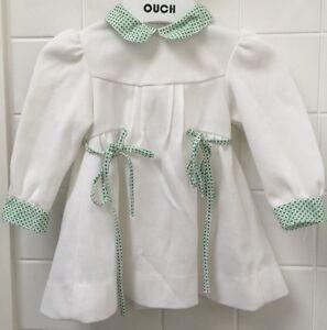 31521448c16a Baby Girls Size 0-1 Vintage 70 s Dress White Green EUC Party Photo ...