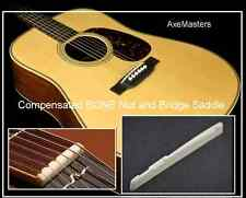 AxeMasters UNIVERSAL BONE NUT and SADDLE Set for Acoustic Guitar - COMPENSATED!