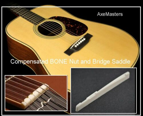 AxeMasters UNIVERSAL BONE NUT and SADDLE Set for Acoustic Guitar COMPENSATED!