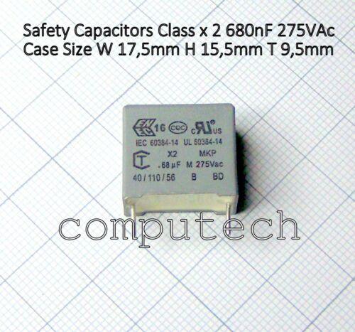 1 Piece Capacitor 680nf 0,68uf 275v AC Class X 2 Step 15mm 17,5 x 15,5 x 9,5