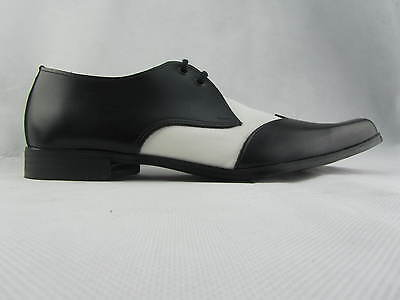 Retro Bugsy Men'S Winkle Picker Shoes Black White Leather Lace Up Classic