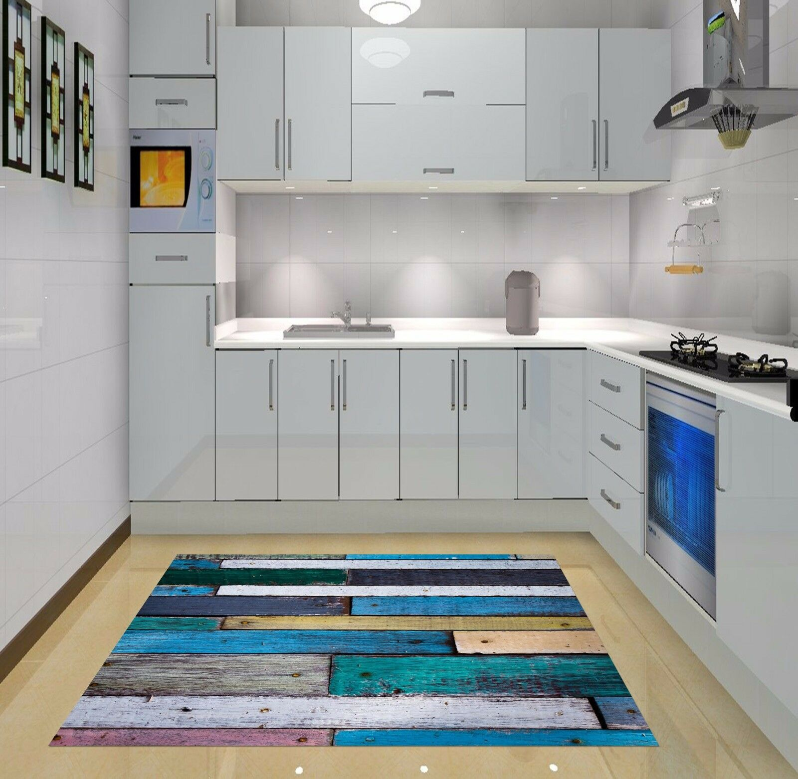 3D Wood Farbe 810 Kitchen Mat Floor Murals Wall Print Wall Deco AJ WALLPAPER UK