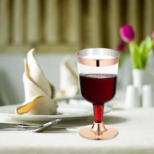 23935c99506 6 x Disposable Wine Glasses 5 OZ Premium Clear Hard Plastic Fancy ...