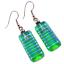 "thumbnail 1 - DICHROIC Glass EARRINGS Verdigris Green Teal Blue Striped Dangle Surgical 1"""