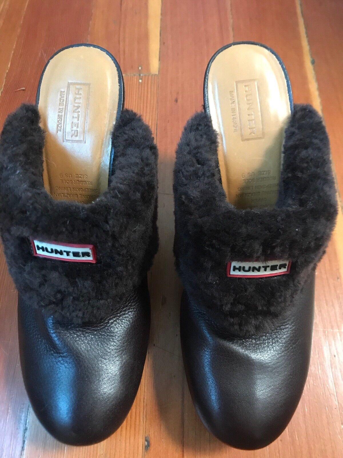 $219 HUNTER Bruson real shearling fur lined shoes platform clog brown Sz 9 39