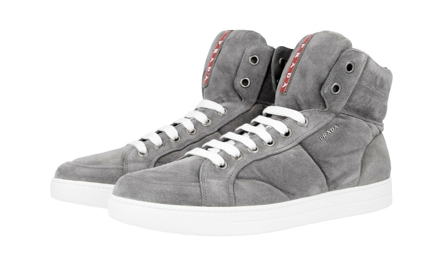 a9aa34b8c53 AUTH PRADA HIGH-TOP SNEAKERS SHOES 4T2596 GREY SUEDE US 7 nsmyly6797 ...