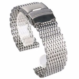 Classic-22mm-Stainless-Steel-Band-Shark-Mesh-Watch-Strap