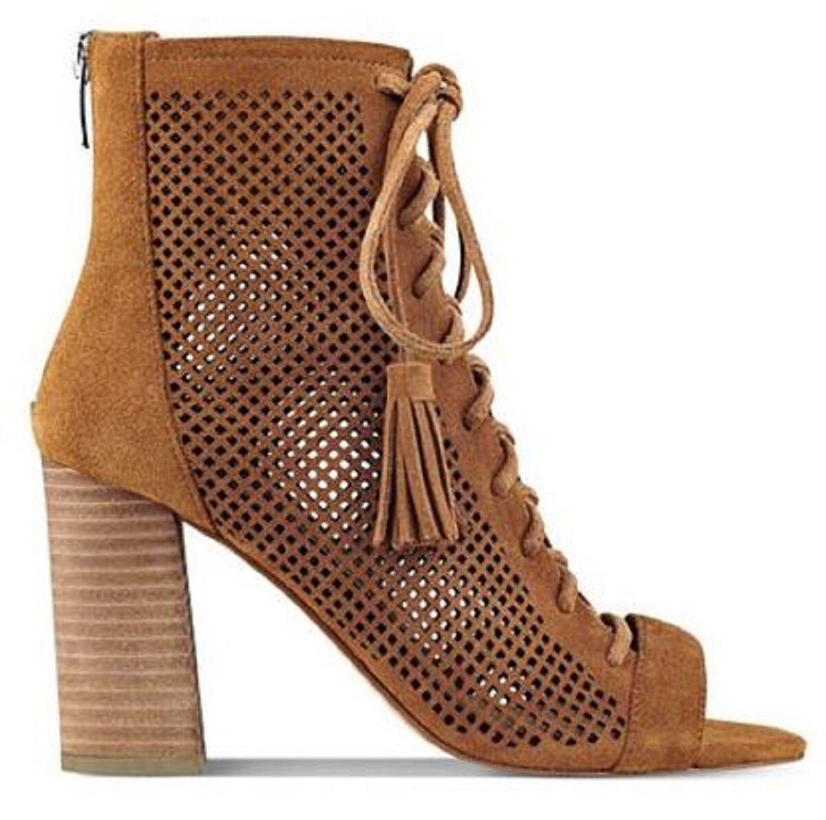 negozi al dettaglio Donna  Marc Fisher SHAINI Lace Lace Lace Up Perforated avvioie Sandals Heels Suede Cognac  nuovi prodotti novità
