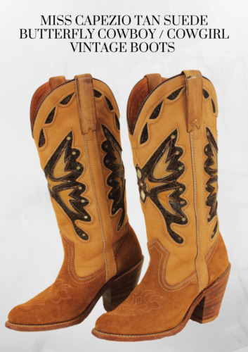 MISS CAPEZIO Tan Suede Butterfly Cowboy / Cowgirl