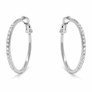 Small-Pave-Hoop-Earrings-with-White-Round-Crystals-from-Swarovski-Rhodium-Plated