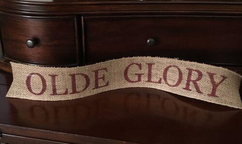 Primitive Burlap Ribbon Banner Olde Glory Ornament Garland Patriotic Americana
