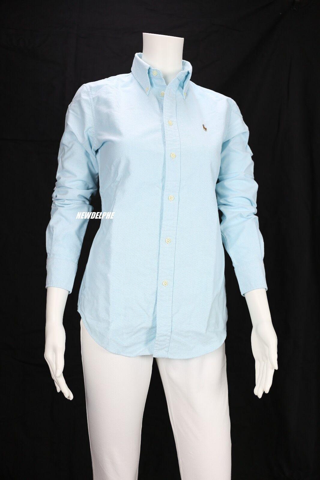 Polo Ralph Lauren Womens Custom Slim Fit Oxford Dress Shirt Blue
