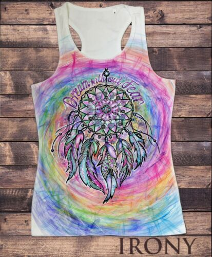 Dream without fear Red Indian Native American Feathers SUB1166 Womens Vest Top