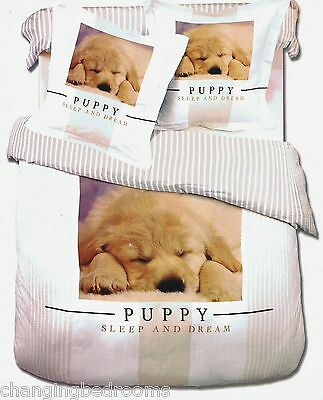 100% COTTON CUTE PUPPY DOG SLEEP AND DREAM  KING SIZE DUVET COVER SE
