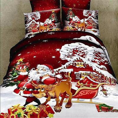 UK Christmas King / Double Bed Duvet Quilt Cover Pillow Set Xmas Santa Claus NEW