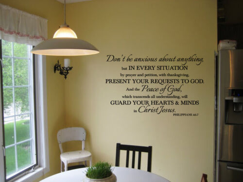 Philippians 4:6-7 Don/'t be anxious about anything vinyl wall decal bible verse