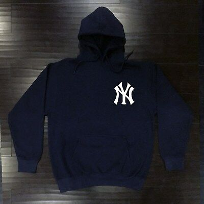 size 40 2b6dc c19f9 New York Yankees Hooded Sweat Shirt Cotton Hoodie Adult Sweatshirt NY NYY  Pocket | eBay
