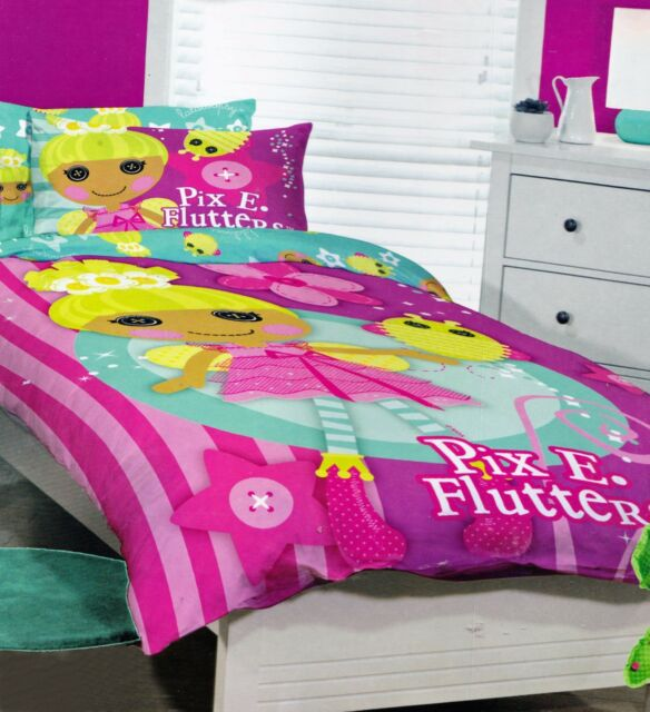 Single//US Twin Bed Quilt Doona Duvet Cover Set Lalaloopsy Pix E.Flutters