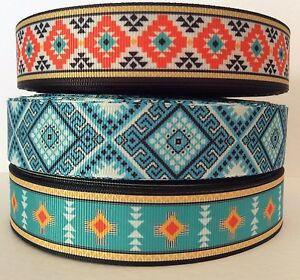 AZTEC-STYLE-GROSGRAIN-RIBBON-22mm-25mm-38mm-75mm-wide-sold-by-the-metre