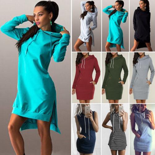 Women/'s Hooded Jumper Dress Hoodie Sweatshirt Sweater Pullover Winter Mini Dress