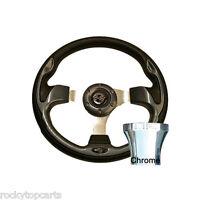 Club Car Ds 1982-up Golf Cart Carbon Fiber 12.5 Steering Wheel & Chrome Adapter
