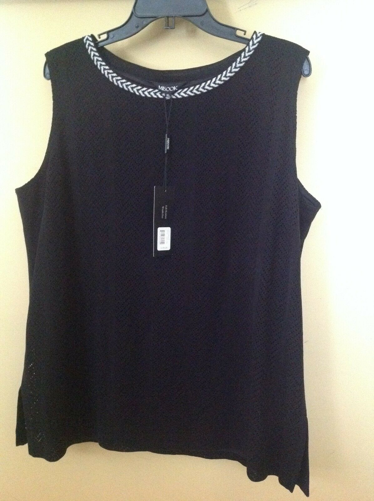 Misook schwarz Weiß Bordure Chevron Pointelle herringbhone Knit Tank Shell Top M, XL