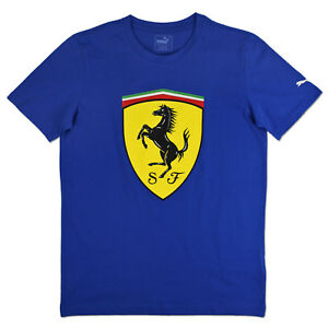 puma ferrari big shield tee herren shirt blau sportwagen. Black Bedroom Furniture Sets. Home Design Ideas