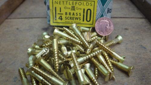 "25 x NETTLEFOLDS 1 1//4/"" x 10 BRASS COUNTERSUNK SCREWS GKN SLOTTED RESTORE NOS"