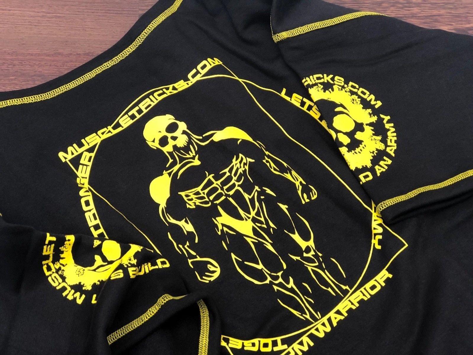 Muscle Rag Top PALESTRA Rag-TOP NERO GIALLO Bodybuilding Sollevamento Allenamento XL