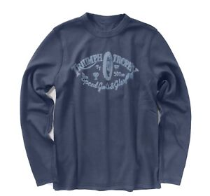 Lucky-Brand-Mens-M-NWT-Navy-Triumph-Motorcycle-Reversible-Thermal-Sweatshirt