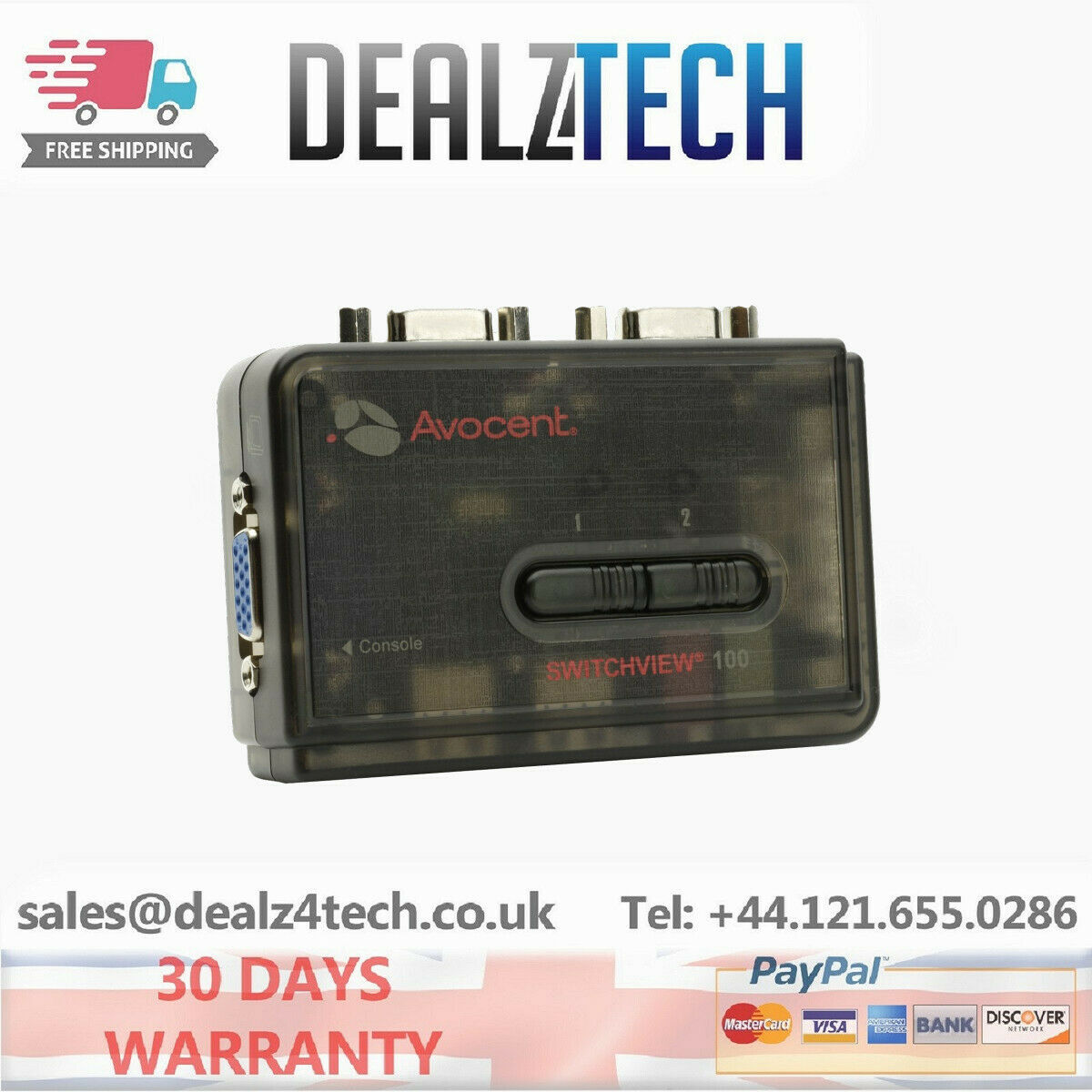 Avocent 2SV120BND1 SwitchView 100 2 Port USB KVM Switch with Audio PC Computer