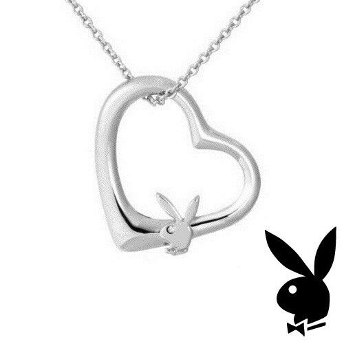 Playboy Necklace Silver Plated Heart Pendant w Chain Swarovski Crystal Bunny NEW