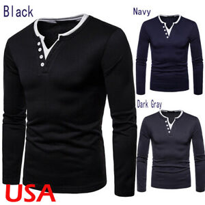 US Mens Casual Tops Henley Shirts Slim Fit V Neck Long Sleeve Muscle Tee T-shirt