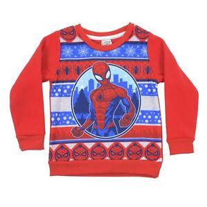 9198f19a Image is loading Kids-Marvel-Spiderman-Christmas-Jumper-Red-Sweatshirt-Xmas-