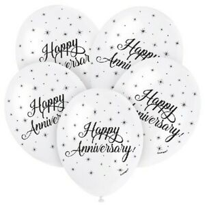 5-x-Happy-Anniversary-12-034-Latex-Balloons-Helium-White-Silver-Party-Decoration