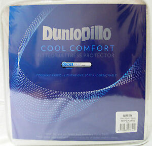 NEW-Dunlopillo-Queen-Bed-Coolmax-Comfort-Fitted-Mattress-Protector-152cm-x-208cm