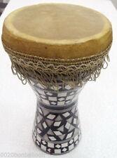 "1Pcs MEDIUM Egyptian Wooden Tabla Drum Doumbek Goat Skin Inlaid Handmade 8"""