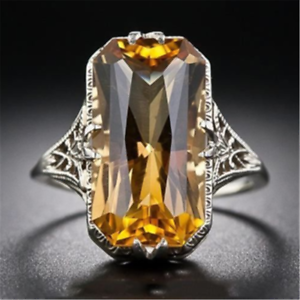 Fashion-Women-925-Sliver-Ring-Citrine-Natural-Party-Wedding-Engagement-6-9-Gift