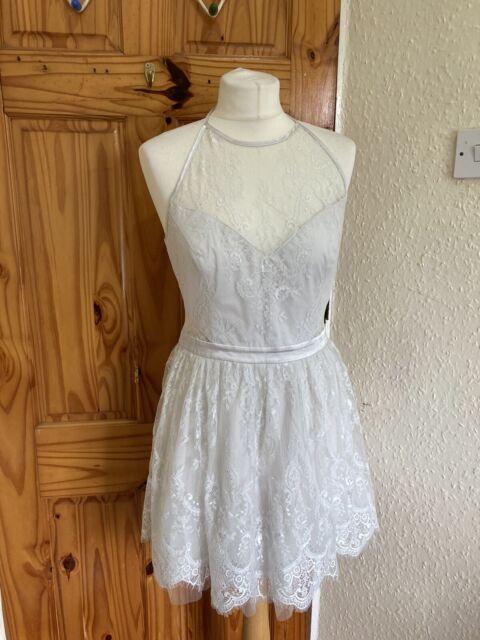 Ariana Grande X Lipsy Silver Lace Prom Dress Uk 14 R156 For Sale Ebay