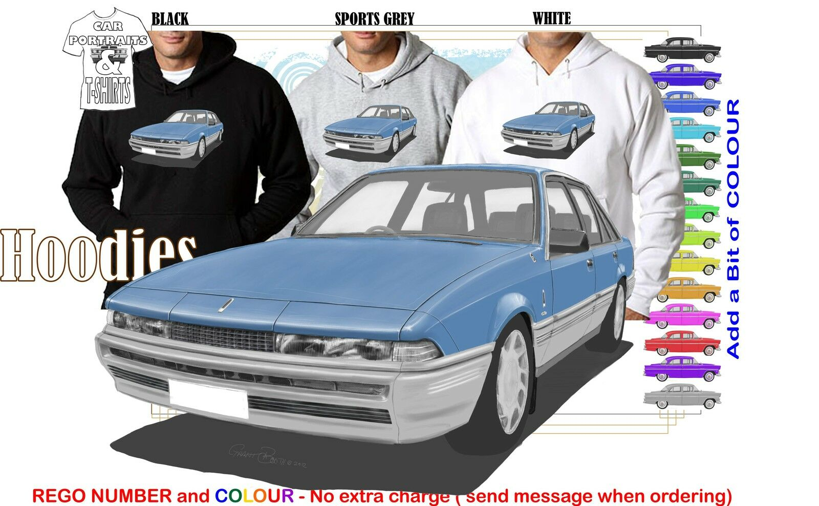 86-88 VL CALAIS COMMODORE HOODIE ILLUSTRATED CLASSIC RETRO MUSCLE SPORTS CAR